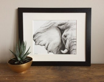 Elephant Charcoal Drawing GICLEE PRINT - Elephant Decor - Elephant Nursery - Black and White Art - Gift for Her - Gift for Mom