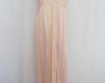 Pink Nightgown 1970 Nylon Nightgown Long Lace Nightgown Rose Quartz Nightgown