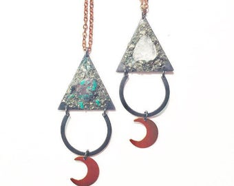 SALE- Bad Moon Rising Necklace with Turquoise or Quartz Crystal and Copper Crescent Moon
