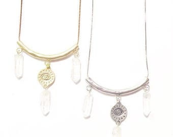 Crystal Charmer Talisman Necklace with Quartz Crystals, Gold or Silver