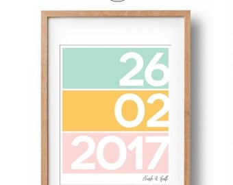 Custom Wedding Gift Date Print | Personalised Engagement Gift | Typography Art Print | Wedding Present| Engagement Present | Digital File