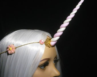 Springblossom Aura Unicorn - Tiara with handsculpted pearlescent horn
