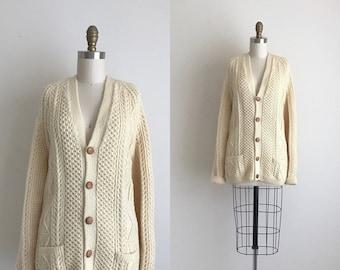 1970s Sweater / Vintage 1970s Cardigan / Wool Fisherman Cardigan