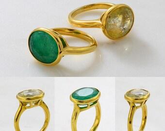 Gemstone ring - Gems Ring - Gemstone Ring - Stackable Ring - Gold Ring - Oval Ring - Gemstone Ring - Set
