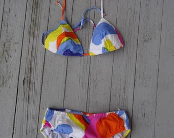 60's Marimekko Bikini 2 pc Bathing Suit Swimwear Design Research Store Cotton Small