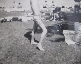 How's This For Sexy - Handsome 1950's Man Clowning At The Beach Snapshot Photo - Free Shipping