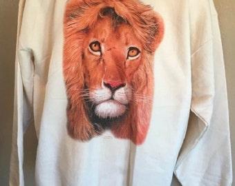 Lion Sweatshirt Lion Head Hanes Heavyweight Natural Color Size Large