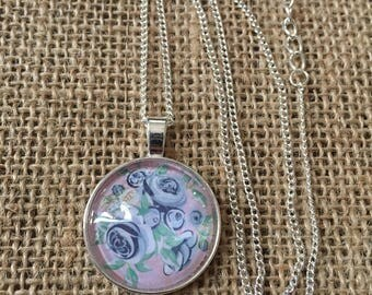 Blue and Pink Floral Necklce