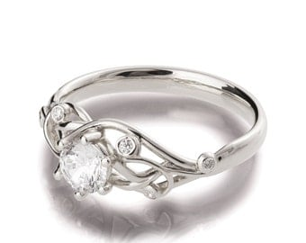 Knot Engagement Ring, 18K White Gold and Diamond engagement ring, Celtic ring, engagement ring, twig ring, twisted engagement ring, eng17