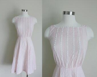 1960s Light Pink Dress | Floral Trim Dress | Pink Day Dress | Pink Sun Dress | Extra Small