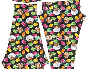 Coffee & Macaroons Leggings, Spandex, Yoga Pants, Java, latte, frappuccino, frappe, cappuccino, Mocha, beans, drink, Starbucks XS-XL-Coffee2