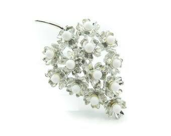 Vintage Flower Cluster Brooch, White Balls, Silver Tone