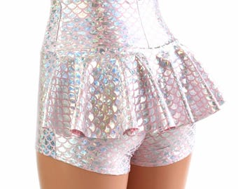 Baby Pink & Silver Mermaid Scale High Waist Ruffle Rump Metallic Holographic Spandex Booty Shorts - 154529