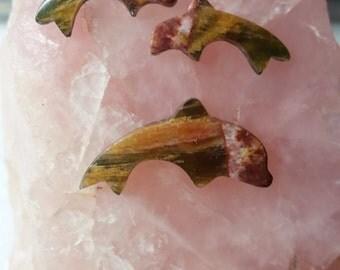 Rainbow Marble Dolphin Cabochon Set/ backed/ set of 3