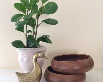 Pair of Shallow Vintage Wood Bowls // housewarming, wedding, gift, boho decor, midcentury dishes, sustainable, organic, 1960s, 1970s, retro