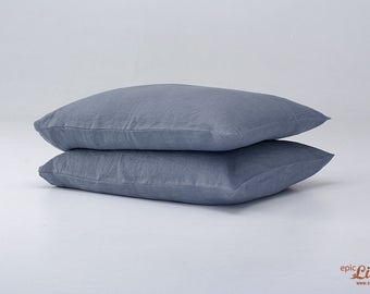 Set of 2 Washed Linen Pillowcases in Graphite Grey