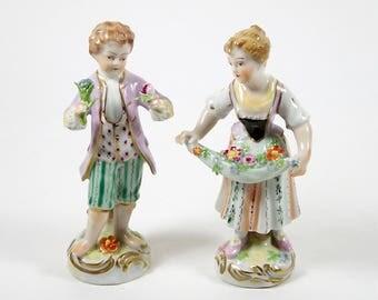Antique Dresden Figurine Pair Carl Thieme Hand Painted Boy & Girl Circa 1902+