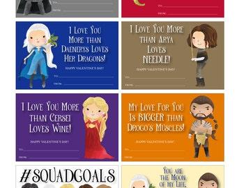 Game of Thrones Valentines - Game of Thrones Valentine Cards - Cute Game of Thrones Valentines - PERSONALIZED - Digital