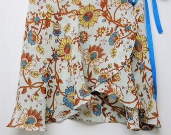 Yellow and Blue Floral Ballet Wrap Skirt-  Short