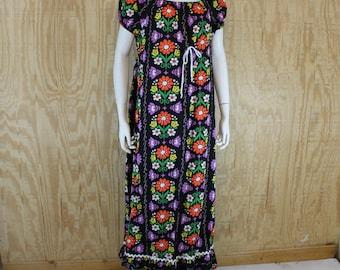 Vintage 1960's N EDELSON Cotton Flower Power Hippie MuuMuu Tent Maxi Dress L