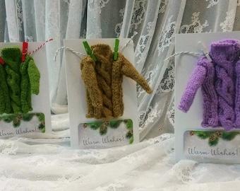 Christmas card with Miniature Sweater, Real mini Pullover Greeting Card, Warm Seasonal Greetings