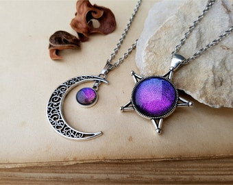 2 Star and Moon Necklaces, best friends jewelry, 2 Star and Moon Choker, moon necklace, star necklace, best friend necklaces Aurora Borealis
