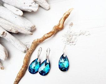 Sterling Silver Swarovski Earrings Necklace Set-Swarovski Crystal Jewellery-Sea Blue Bermuda Blue-Bridesmaids Teardrop Dangle Drop Earrings