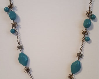 Antique Brass Beaded Necklace 1729