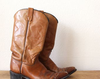 50% OFF 70s Acme Boots  || Mid Calf High Brown Leather + Snakeskin Toe Inlay  || Women's US 7.5 / 8