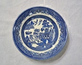 RESERVED Vintage Churchill Blue Willow Cereal Bowl Set f 4 Blue and White Asian Design England  PanchosPorch