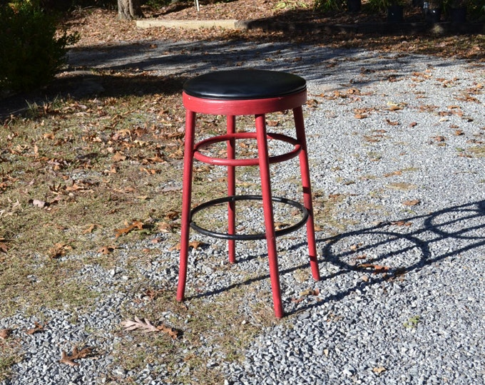Vintage Bentwood Stool Black Vinyl Seat Red Bar Stool Kitchen Shelby Williams Painted Furniture PanchosPorch