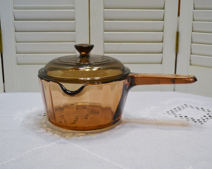 Vintage Corning Visions 1 Liter Pot with Pouring Spout and Lid Ribbed Sides USA Amber Brown Glass Cookware PanchosPorch