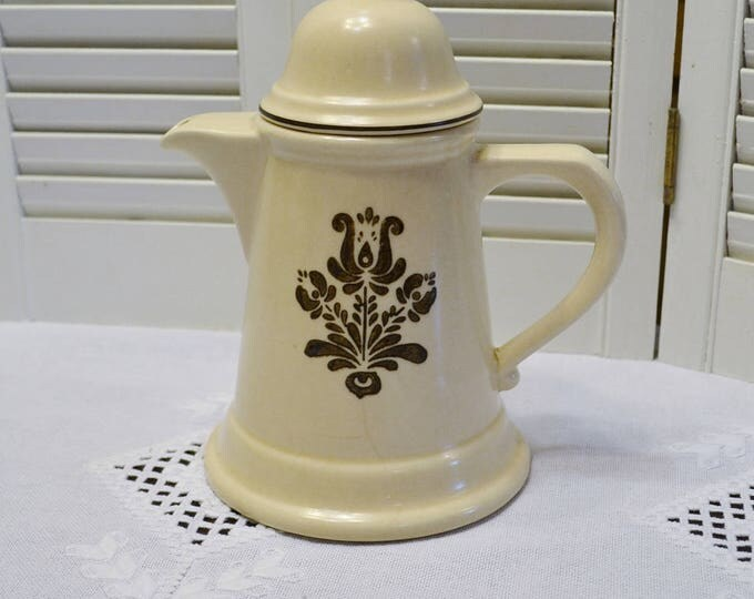 Vintage Pfaltzgraff Village Coffee Pot with Lid Country Primitive Stoneware Retro Kitchen Decor  Beige Brown PanchosPorch