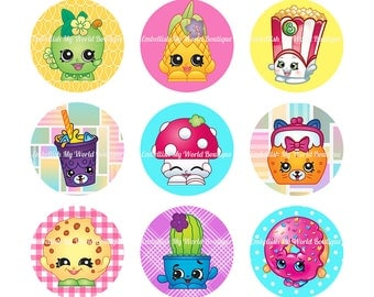Shopkins Bottle Cap Images 1 inch Circles/ Digital Collage Sheet