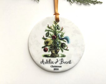 Our First Christmas Married Ornament - Couples 1st Christmas - Personalized Ceramic Tree Ornament - Unique Bridal Shower, Wedding Gift
