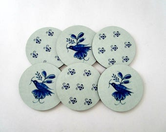 Blue Delft Bird Coasters - Delft Blue Coaster Set - Vintage Style Drink Coasters - Cottage or Farmhouse Decor - Housewarming Gift