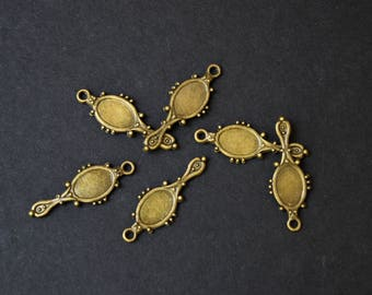 Mirror-Hand Mirror Charms-Bronze-Set of 6