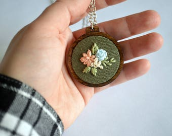 READY TO SHIP: Wildflower Embroidery Necklace, Mother's Day Hoop Art Jewelry, Hand Stitched Art, Sterling Silver, Floral Pendant