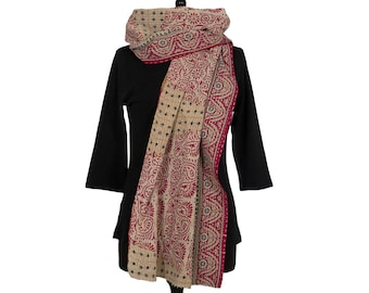 KANTHA SCARF - Soft Red and Beige. Reverse Red and Ochre - Unique, one of a kind
