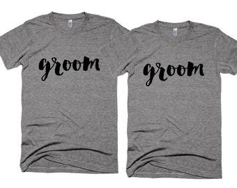 Wedding Tshirts - groom t-shirt - Gay Wedding Photo shoot Props - Cliche Zero