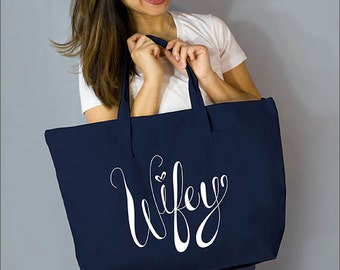 """Navy Wifey Large Zip Tote: 100%  Natural Cotton Canvas 22""""W x 15""""L x 5""""D with Interior Zippered Pocket- Ellafly"""
