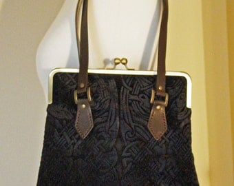 Chocolate Brown Velvet Handbag with a Handprinted Zoomorphic Celtic Design and Leather Handles