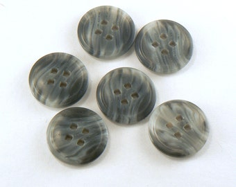6 - 23 mm Plastic Grey Buttons - Two Tone Marbled 4 Hole Sewing Buttons - Square Hole Buttons - Flat Sewing Buttons  #GR-05-01