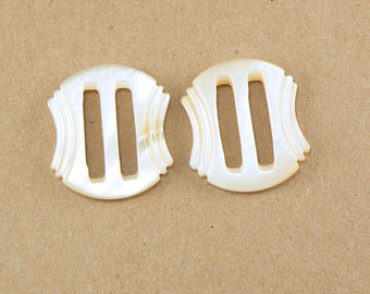 """TWO 11/16"""" Mother Of Pearl Carved Slider Buckle - MOP Buckle - Small Slide Buckle - Shell Buckle - Vintage Mother Of Pearl Buckle - PR-28-01"""