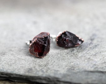 Raw Garnet Earrings Stone Posts Sterling Silver Studs Deep Red Electroformed Earrings Copper Jewelry Gemstone Jewelry Natural Stone