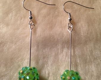 Green Earrings, Bead Earrings, Sparkly Earrings, Green Jewelry, Green Dangly Earrings, Valentines Gift, Valentines Present, Globe Earrings