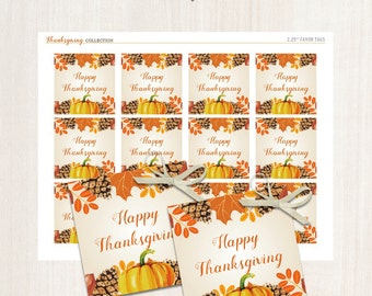 Thanksgiving Favor Tags - Fall Favor Tags Pumpkin Fall leaves THANK YOU tags Digital Printable File -  Instant download