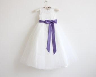 Light Ivory Flower Girl Dress Purple Baby Girls Dress Lace Tulle Flower Girl Dress With Purple Sash/Bows Floor-length