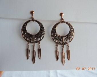 Solid Copper Circle Dangle Earrings