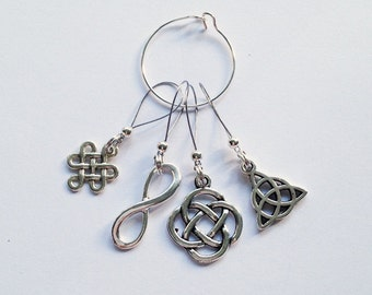 Celtic Stitch Marker Combo - Set of 4-5 Adjustable, Mini or Removable Celtic Knot Stitch Markers for Knitting or Crochet